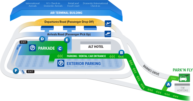 Basic map of the parkade, arrivals, departures, park and fly, Tim Hortons, exterior parking, and the Alt Hotel. Long description follows.