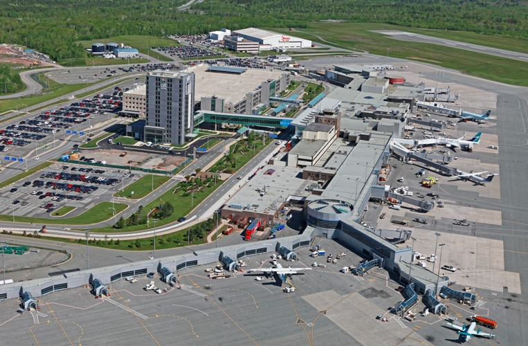 Aerial photo of Halifax Stanfield International Airport, shows all gates, hotel and parking lot